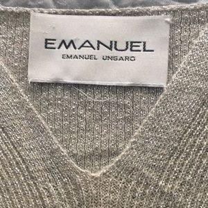 EMMANUEL UNGARO Tops - EMMANUEL UNGARO METALLIC SILVER SLEEVELESS SWEATER
